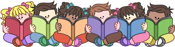 clipart of young child reading books sitting side by side