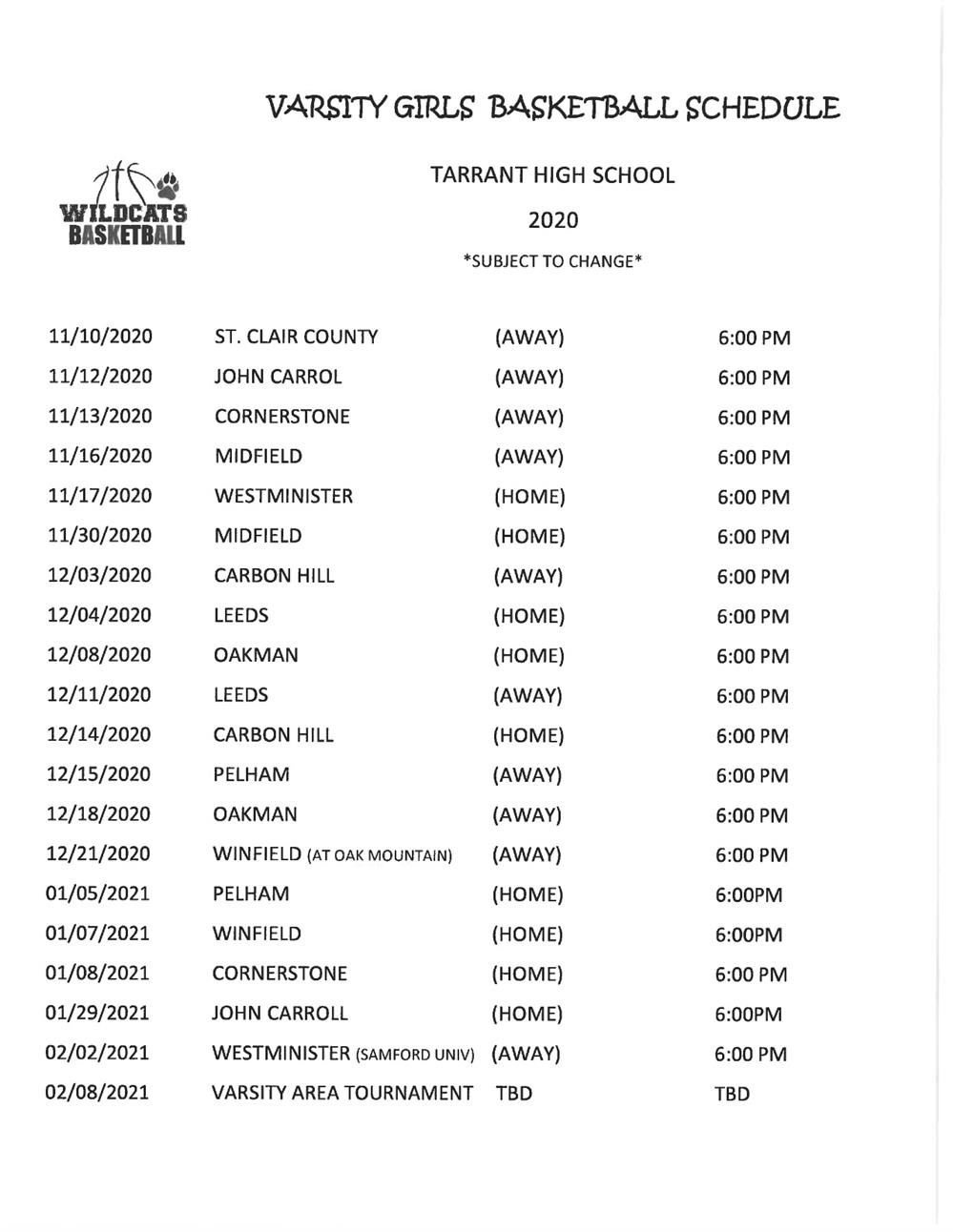 Tarrant High School Girls Basketball Schedule