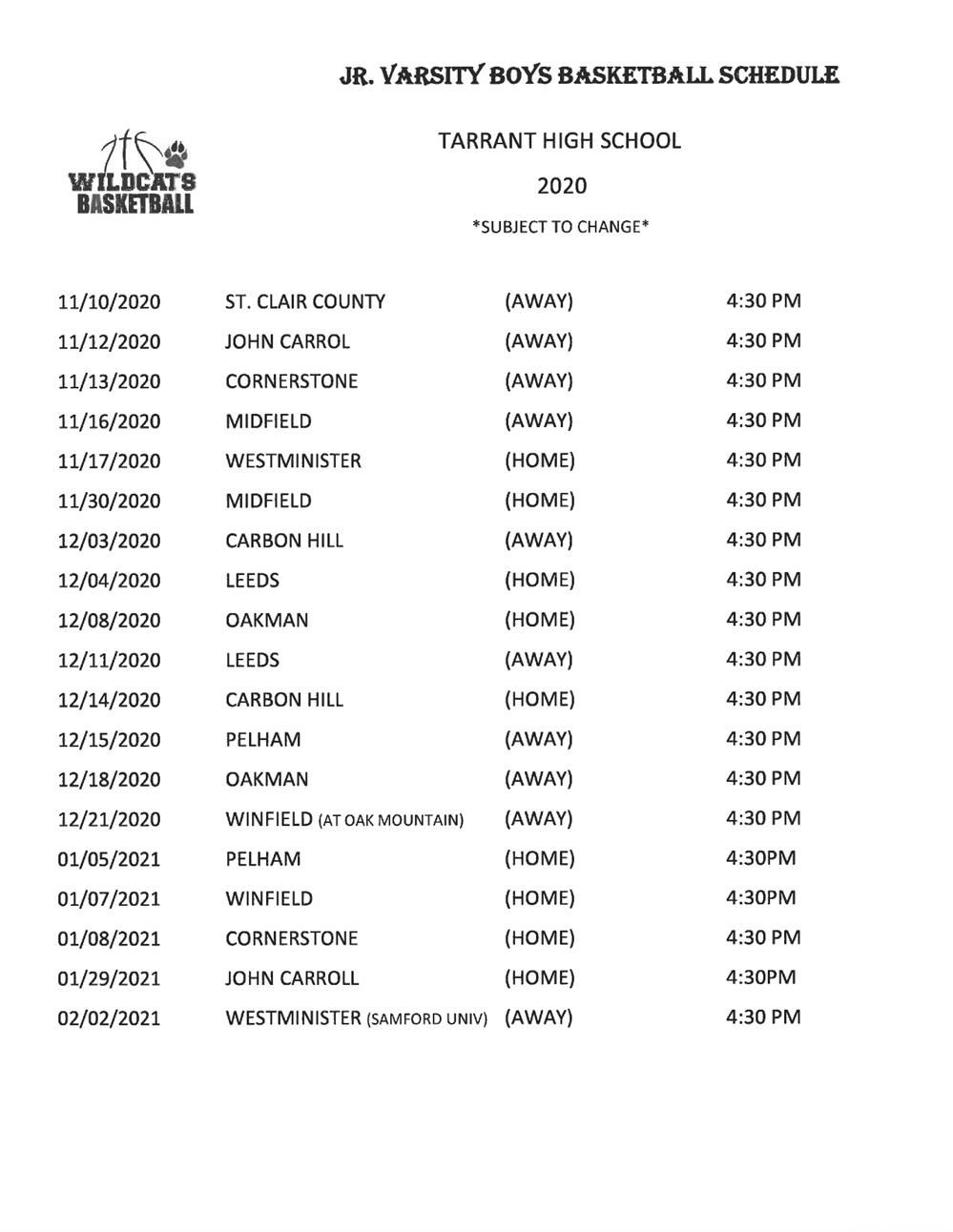 Tarrant High School JV Basketball Schedule